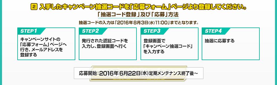 入手したキャンペーン抽選コードを「応募フォーム」ページより登録してください。「抽選コード登録」及び「応募」方法